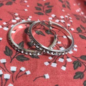 Australian Crystal Silver Tone Hoop Earrings NWT